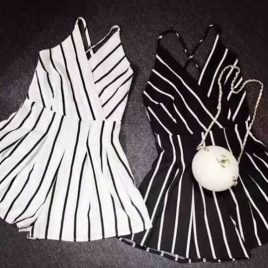 Cross Back Zebra Romper